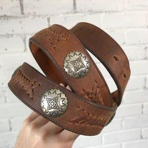 Vintage Brown Leather Belt Silver Conchos Western